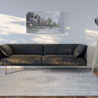 Minimalistic Room With Sofa And Spotlight (Front View)